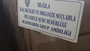 Marmaris'te depoya yapılan baskında 6 bin 849 şişe sahte içki ele geçirildi.