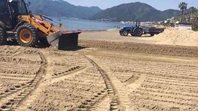 Marmaris plajına özel kum