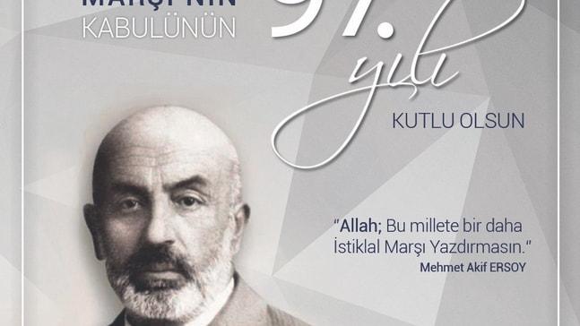 Başkan Yağcı'nın 12 Mart İstiklal Marşı'nın Kabulü mesajı