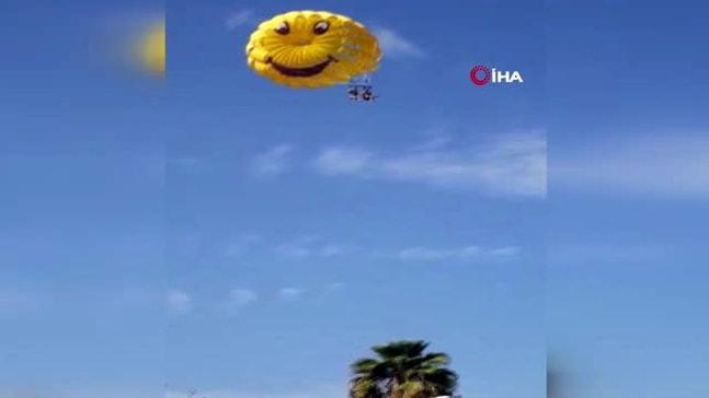 Denizde başlayan eğlenceli uçuş, otelin çatısında son buldu