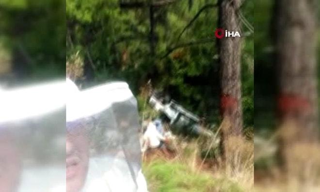 Marmaris'te Arı kovanı taşıyan kamyonet uçurumdan yuvarlandı.