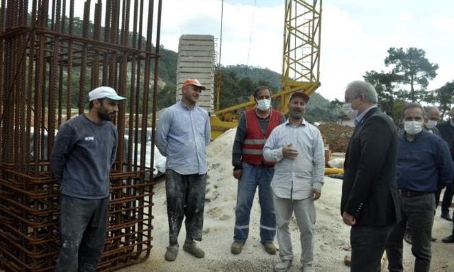 Muğla AK Parti İl Yönetimi hastane inşaatında incelemelerde bulundu